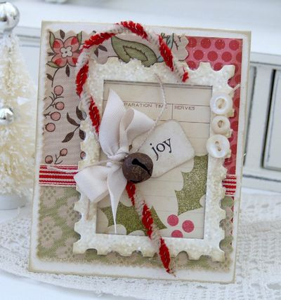 This sample uses just a snippet of the teastained recipe card framed in by