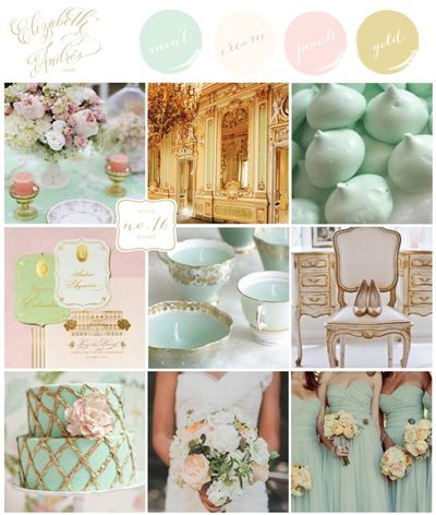 Mood Board- Mint, Cream, Peach and Gold-01